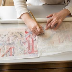 日本画教室。撮影。