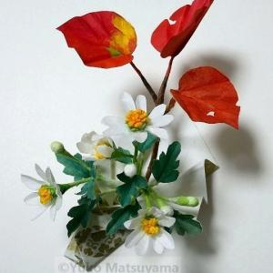 和紙クラフト一日講座「照葉に小菊」