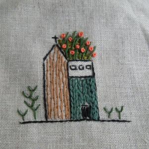 コラージュ刺しゅう 教室用サンプル 小さな家