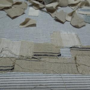 コラージュ刺しゅう 布のコラージュ 窓