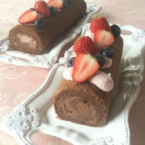 チョコレートスフレのロールケーキ4月エンジョイクラスのレッスン
