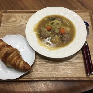 【献立】ミートボールと野菜の煮込み、クロワッサン
