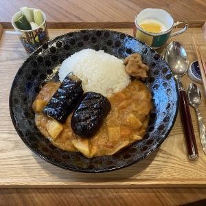 【献立】茄子トッピングスパイスカレー、ピクルス、ヨーグルト