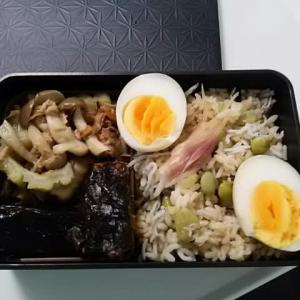 新しいタイプの弁当を詰めてみる /枝豆、茗荷の混ぜごはん