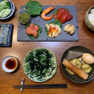小さな幸せな手巻き寿司 (七浜漬、大川魚店、いわき市)