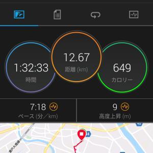 今日のジョギング(12km・青空)
