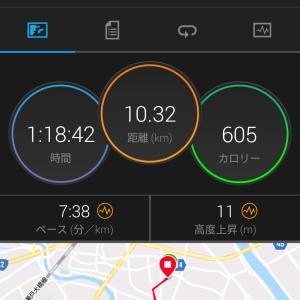 今日のジョギング(10km・むちゃ暑い!)