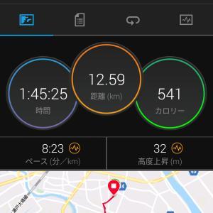 今日のジョギング(12km・むちゃ暑い)