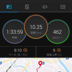 今日のジョギング(10km・へろへろ)