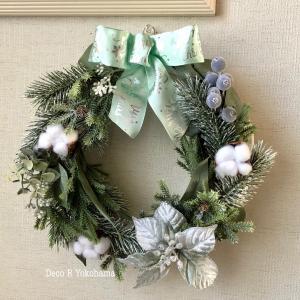 """新作!""""幸せを呼ぶクリスマスリース""""  ホワイト&グリーンの王道クリスマスリース ご紹介"""