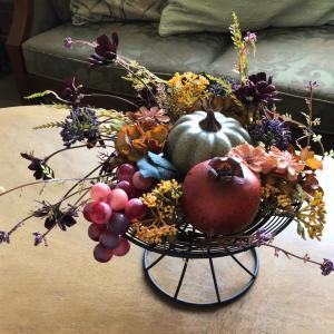 """生徒様の作品ご紹介 """"まるで絵画のように美しい""""秋色コンポートアレンジ"""