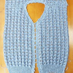 カーディガン、襟、前立、かぎ針編み。