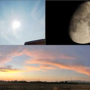 昨日,昨夜,今朝の風景 初冬の空,月,日の出前,日の出