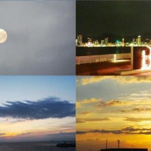 昨夕,昨夜,今朝の風景 十二番目の月,神戸港・夜景,日の出