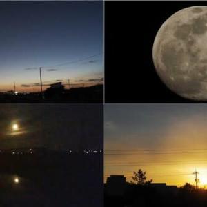 昨夕,昨夜,今朝の風景 夕景,十三夜月,夜明け前,日の出