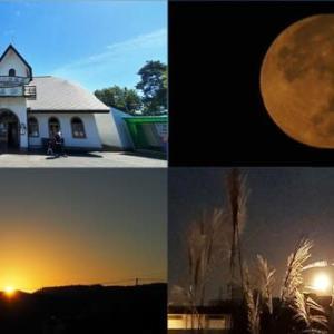昨日,今朝の風景 花巻・山猫軒,朝の満月,日の出