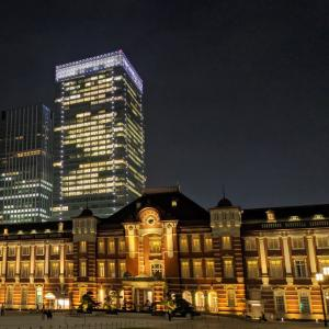 東京駅丸の内駅舎と夜景