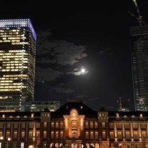 中秋の名月と東京駅丸の内駅舎