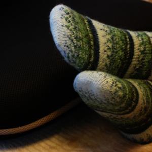 今年38足目の手編み靴下をBO