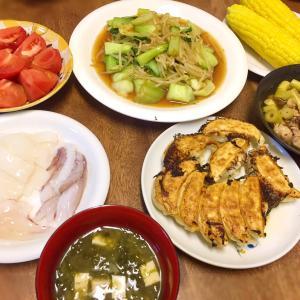 王将餃子と姫竹の煮物