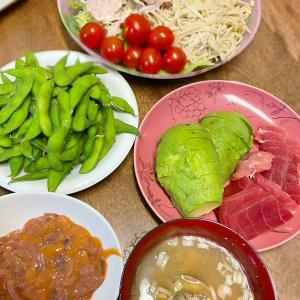 鮎の塩焼きと豚しゃぶサラダ