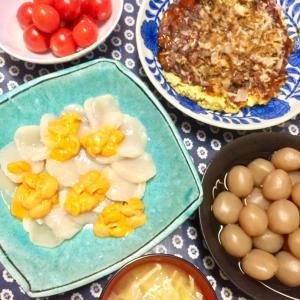 ホタテの刺身とお好み焼き