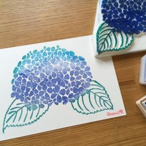 【季節のはんこ】紫陽花と手ぬぐい作り