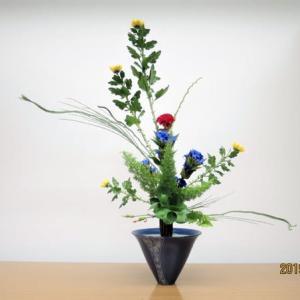 菊の立花・・花も葉も大事・立花