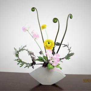 ゼンマイとラナンキュラス・スイトピー・・花で春らしく