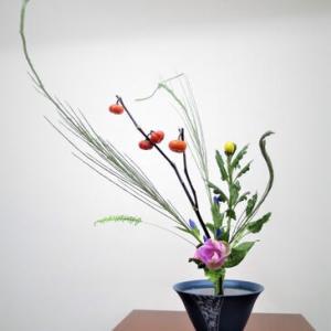 菊・花ナス・・秋らしい立花