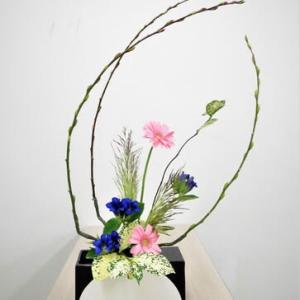 ヨシとアカメヤナギ・ガーベラ・・楽しい自由花