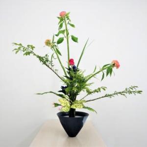ケイトウ・ニシキギの立花・・夏らしい花材