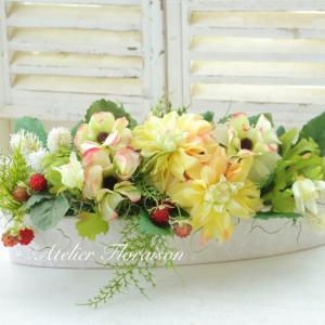 イエロー系のお花とベリーをいれた感じで♪とリクエストレッスン
