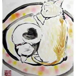 「円満」(色紙・墨彩パステル画)