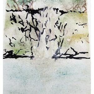 「八反の滝」(パステル&墨作品)