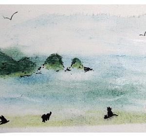 「おっぱまの浜」(パステル&墨作品)