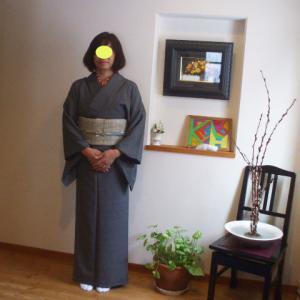 江戸小紋におしゃれ袋帯姿 お花の新年会です