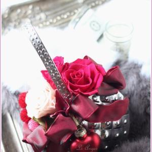 バレンタインハートは☆プリザーブドでキュートにアレンジ☆