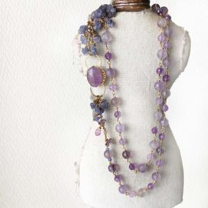 【新作】女らしさ漂う優しい紫陽花カラー!ラベンダーアメジスト紫陽花カラー ロングネックレス