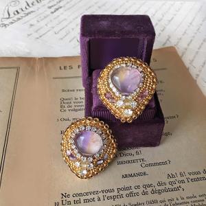 透明感と女性らしい優しい色合いに魅了するアメトリン!紫天然石ビーズ刺繍アメトリンピアスイヤリング