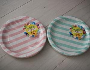 100均ダイソーのペーパー皿(ボーダー)