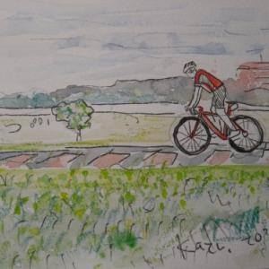 定年後オッサンのスケッチ散歩(3)多摩川サイクリングロード