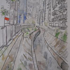 定年後オッサンのスケッチ散歩(6)渋谷川