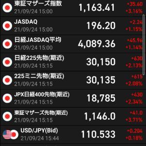 本日の持ち株報告9/24/2021 日本が強い! 総裁選まで上がるアノマリーは本当か?!