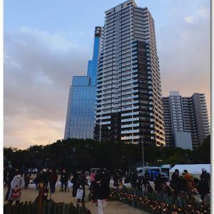 コロナ禍の元「阪神淡路大震災1.17希望の灯り」