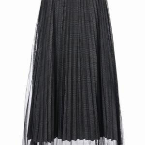 ☆New☆【C.C.CROSS】チュール×チェックレイヤードスカート(M)(17064円)(ブラックワンカラー)
