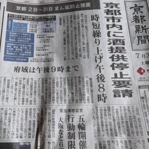 京都市内は来週以降酒類提供禁止