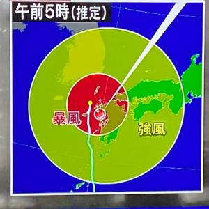 台風が怖くて眠れない(T▽T)