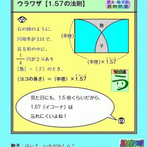 [1.57(イコーナ)の法則]【算太・数子の算数教室】[平面図形][ウラワザ]