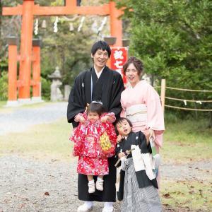 和歌山県 丹生官省符神社 七五三出張撮影 家族全員和装だよ!